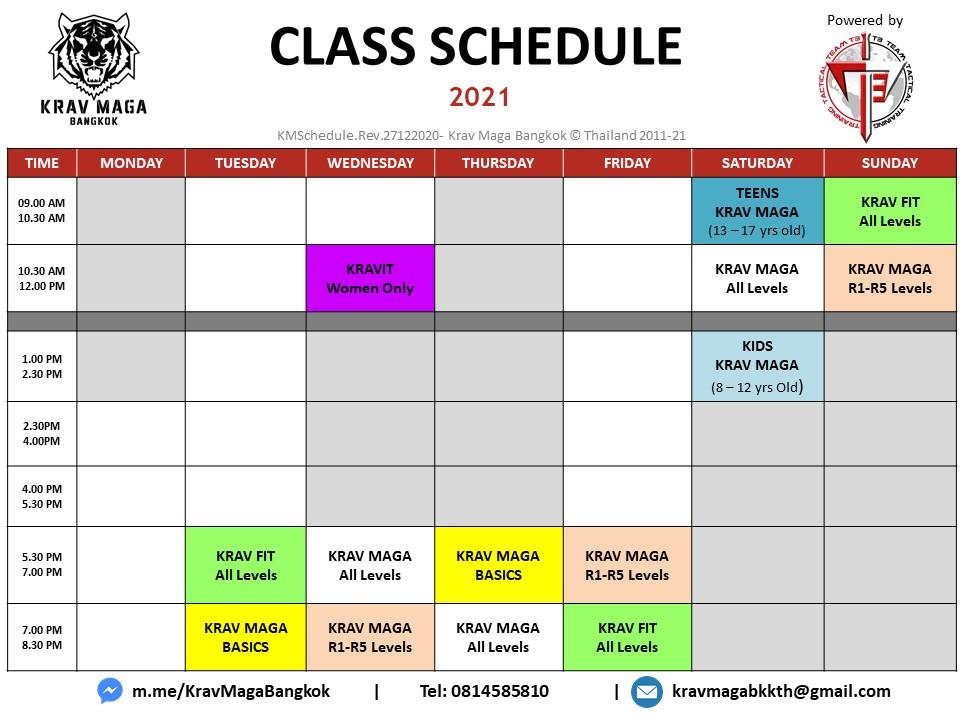 Krav Maga Bangkok class schedule