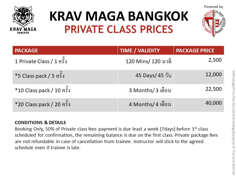 Krav Maga bangkok private class prices