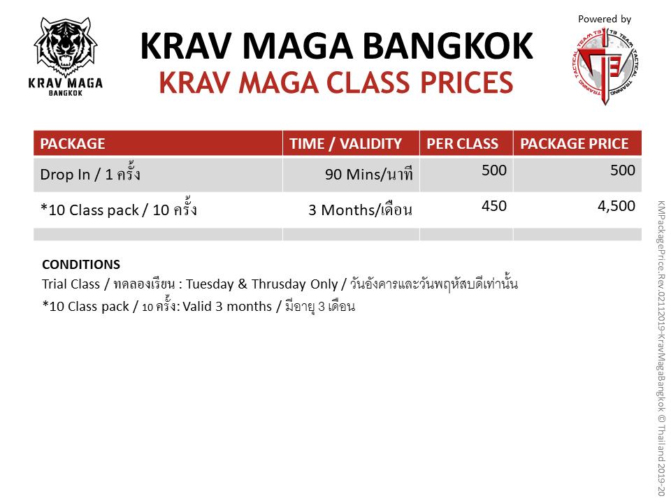 Krav Maga Bangkok Group class prices