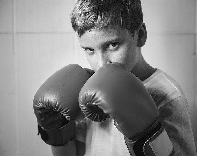 Krav Maga Self-Defense Kids wearing boxing gloves for Krav Maga Bangkok basics class